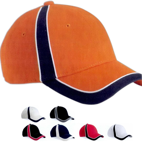 Sportsman (tm) Striper - Structured Cap With Velcro (r) Closure And Sewn Eyelets. Blank Product Photo