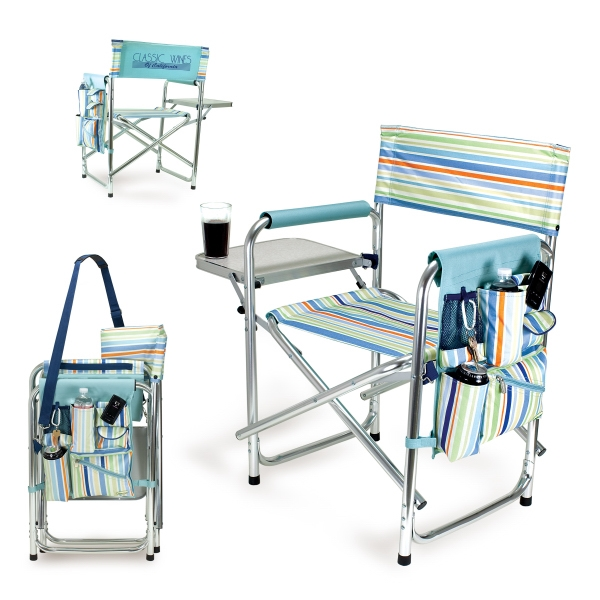 St. Tropez Sports Chair Deluxe - Folding Chair With Fold-out Side Table, Side Pockets & Adjustable Shoulder Strap Photo