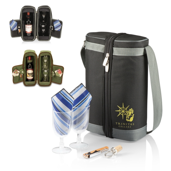 Estate - Black - Insulated, Single-bottle Wine Tote/cooler With Wine Service For Two Photo