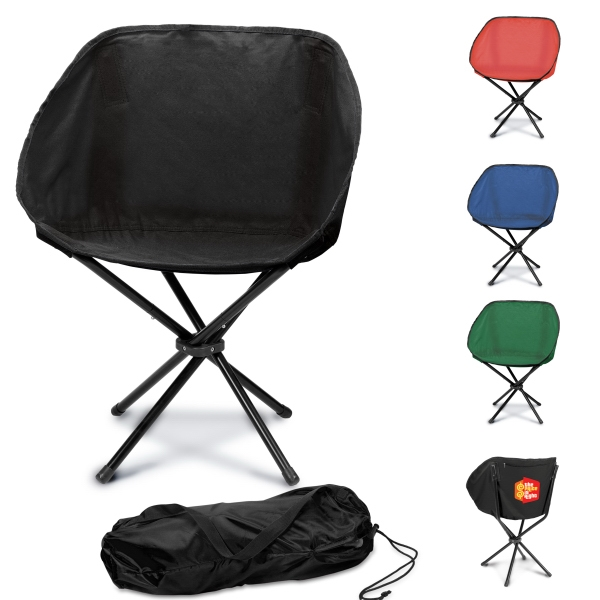 Black - Lightweight, Portable Folding Chair With 4 Legs, Contoured Canvas Seat & Back Rest Photo