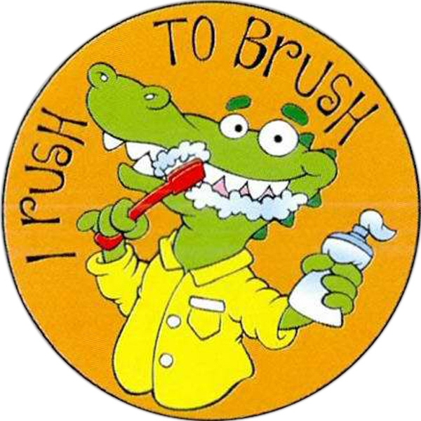 "Kids Will Love These 2"" Round ""i Rush To Brush"" Stickers Photo"