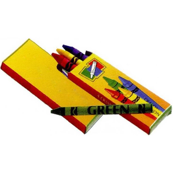 4 Pack Of Red, Yellow, Green And Blue Crayons In Imprinted Box Photo