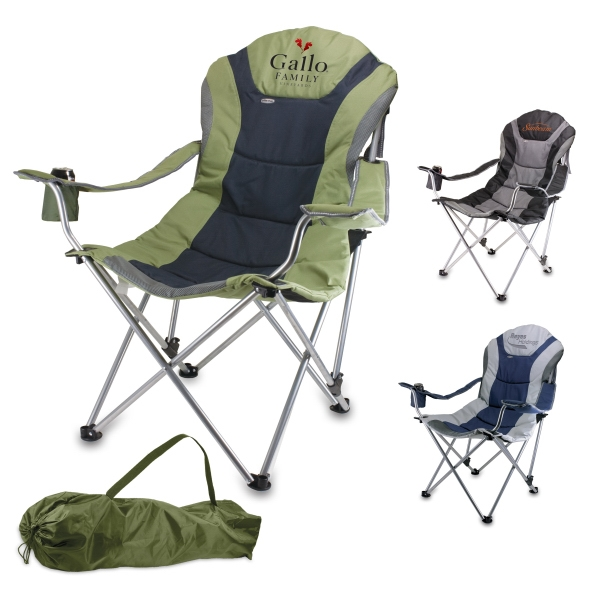 Navy-gray - Folding Chair With Padded Seat And Back Rest Photo