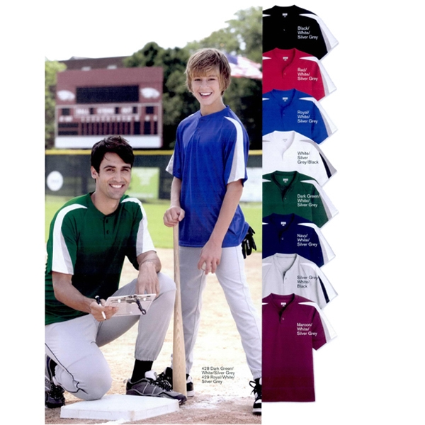 Augusta Sportswear (r) - S- X L - Performance Baseball Jersey With Raglan Sleeves And Two-button Placket. Blank Photo