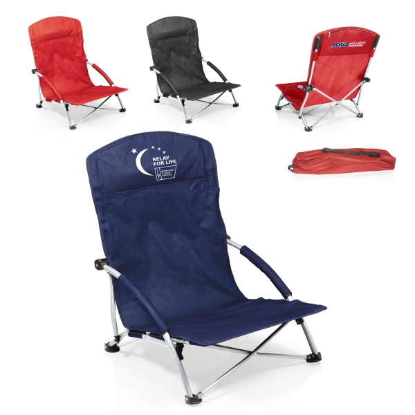 Tranquility - Red - Heavy-duty, Portable Folding Beach Chair With Padded Armrests And Zippered Pocket Photo