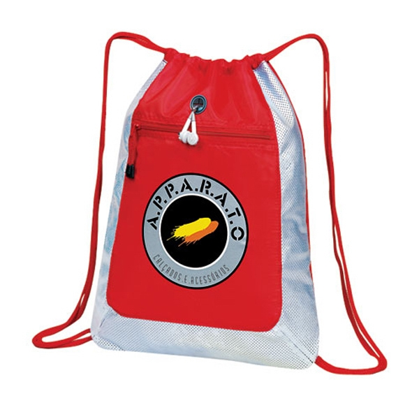 Techno-bright - Drawstring Duffle Bag With Front Zippered Pocket Has Cd Player/ipod Holder Photo