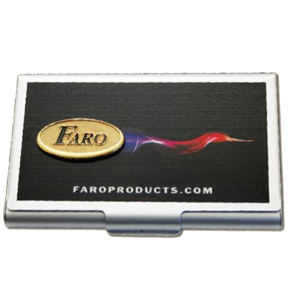 "Faro - 1.5"" - Imprinted Card Caddy With Added Emblem Photo"