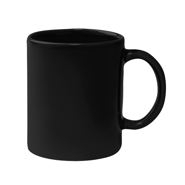 Black - Colored Stoneware Mug With C-shape Handle, 11 Oz Photo