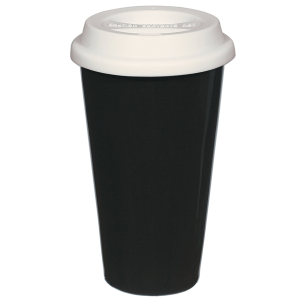 Black - 11 Oz. Double Wall Ceramic Mug With Silicon Lid Photo