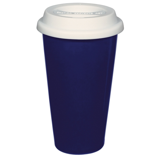 Cobalt Blue - 11 Oz. Double Wall Ceramic Mug With Silicon Lid Photo