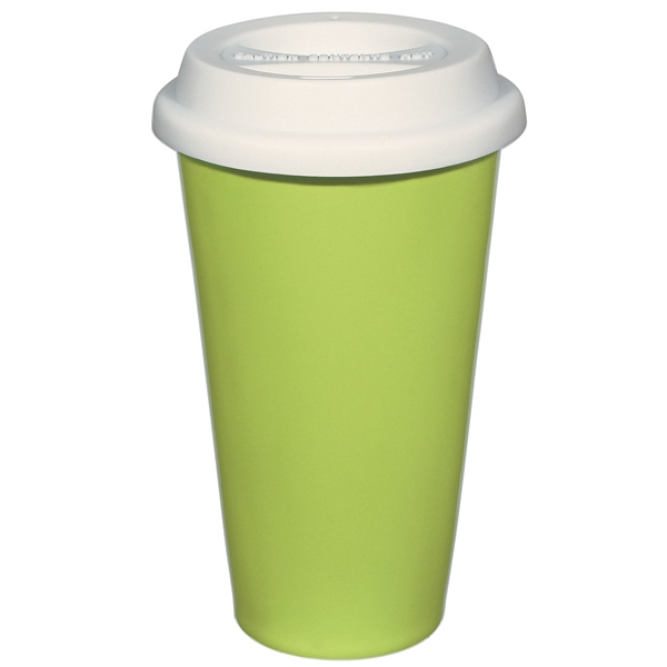 Lime Green - 11 Oz. Double Wall Ceramic Mug With Silicon Lid Photo