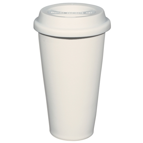 White - 11 Oz. Double Wall Ceramic Mug With Silicon Lid Photo
