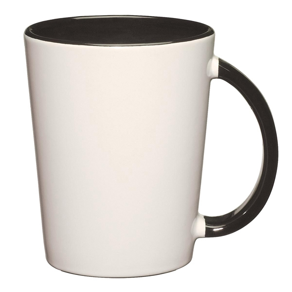 Capri - Black - White Ceramic Mug With Colored Interior And Handle Photo