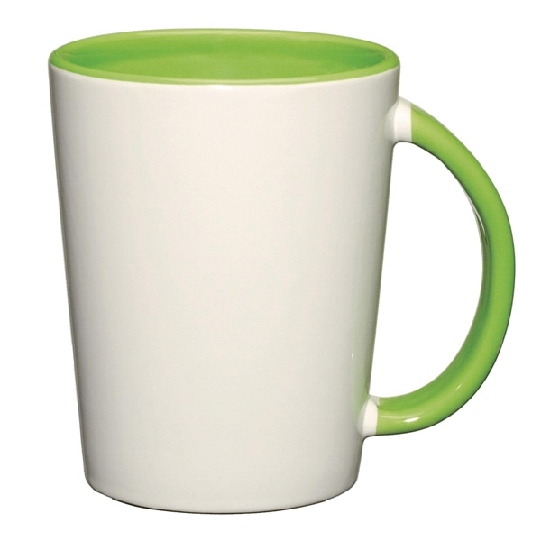 Capri - Lime Green - White Ceramic Mug With Colored Interior And Handle Photo