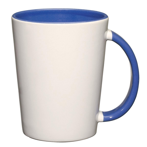 Capri - Ocean Blue - White Ceramic Mug With Colored Interior And Handle Photo