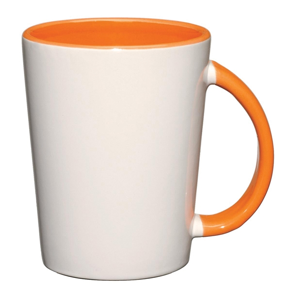 Capri - Orange - White Ceramic Mug With Colored Interior And Handle Photo