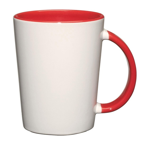 Capri - Red - White Ceramic Mug With Colored Interior And Handle Photo