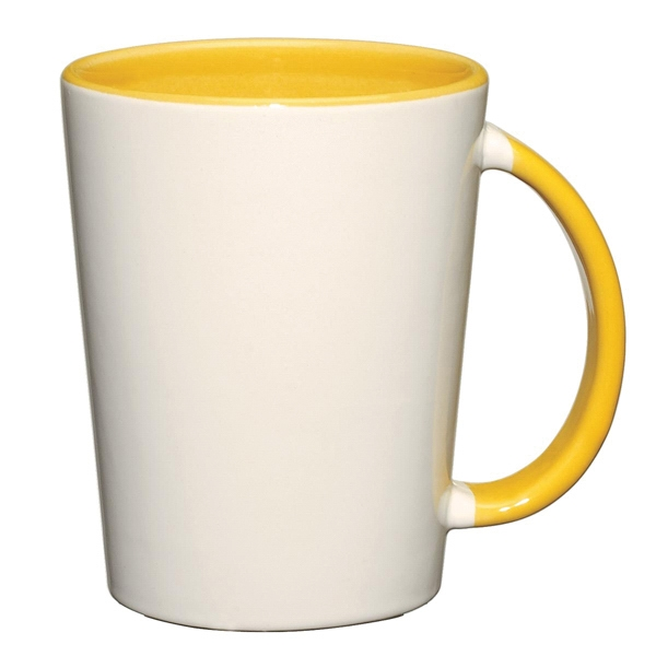 Capri - Yellow - White Ceramic Mug With Colored Interior And Handle Photo