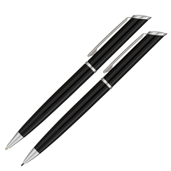 500 Series - Pen And Mechanical Pencil Set With Chrome Trim And Slanted Top Photo