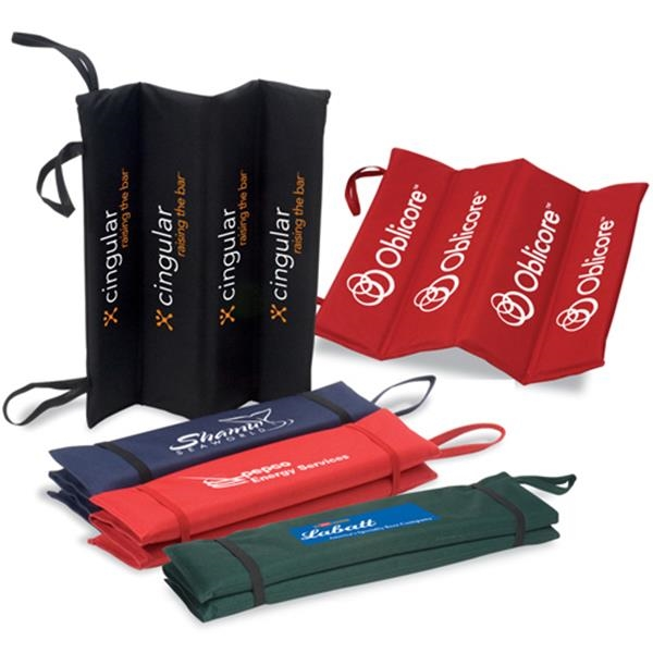 Logotec - Rugged Pvc Polyester Fold Up Stadium Cushion With Elastic Straps And Handle Photo