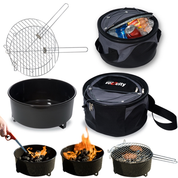 Weekend Explorer Logotec - Grill And Cooler Set, Outer Chamber Holds The Grill And The Inner Holds The Cooler Photo