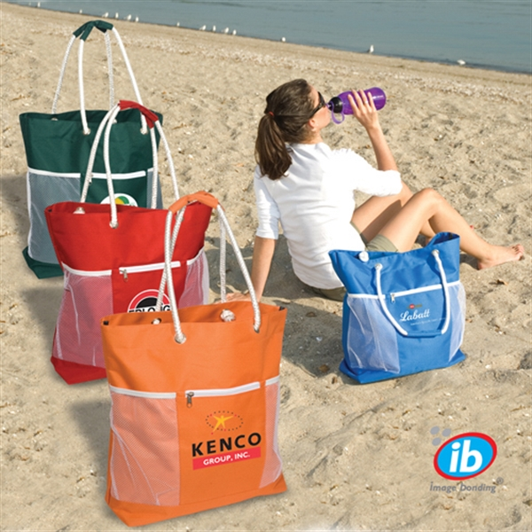 Seaside - Tote Bag, 600 Denier Polyester With Zippered Front Pocket Photo