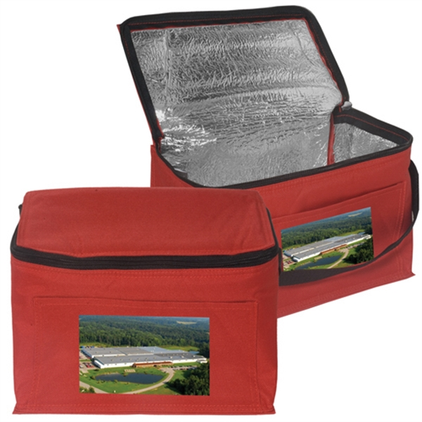 """6-Pack Personal Cooler Bag - Insulated polyester lunch tote with PU backing, zipper closure and 1"""" nylon web strap"""