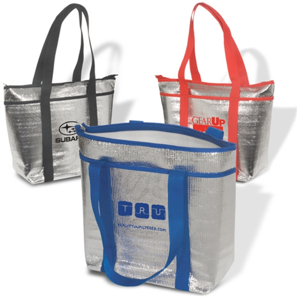 Ice (r) - Foam Insulated Cooler Tote With Aluminum Finish And Clear Pvc Coating Photo