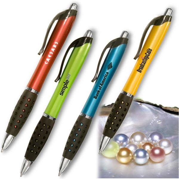 Plastic Body Pen With Rubber Honeycomb Comfort Grips Photo