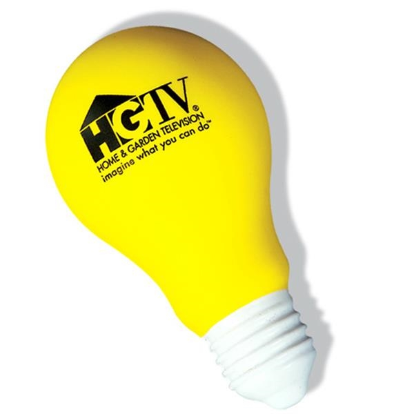 Yellow Light Bulb Shaped Stress Reliever. Closeout Photo