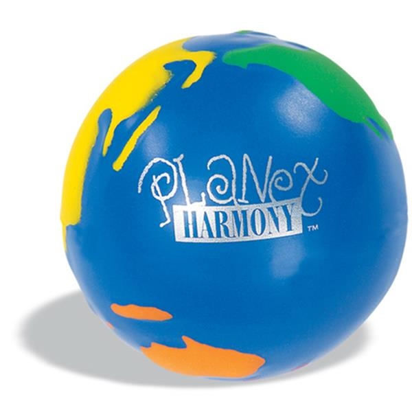 Globe Design Stress Ball, Blue With Multicolor Continents Photo