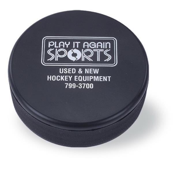 Black Hockey Puck Shaped Stress Reliever Photo