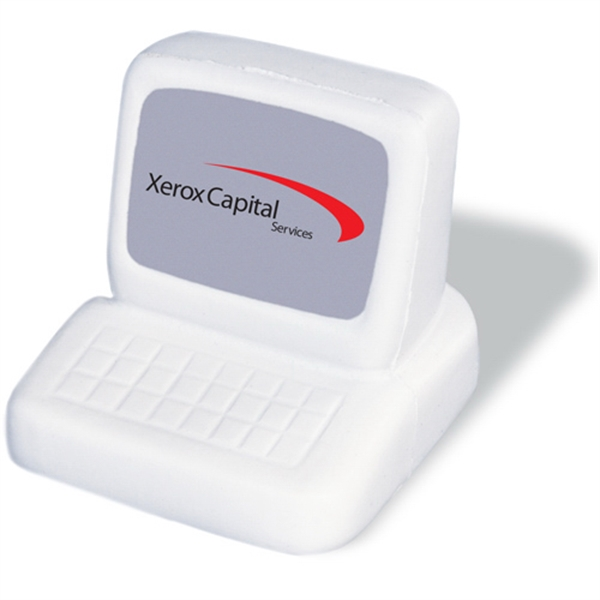 Computer Shaped Stress Reliever, White With Gray Screen Photo