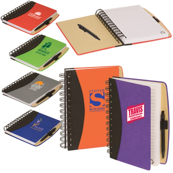 Eco-responsible (tm) Enviro-jotter - Recycled Cardboard Cover Jotter With Double Metal Loop Wire Binding Photo