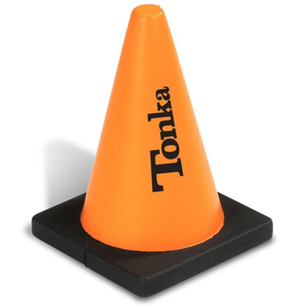 Construction Cone Shaped Stress Reliever, Orange Cone With Square Black Base Photo