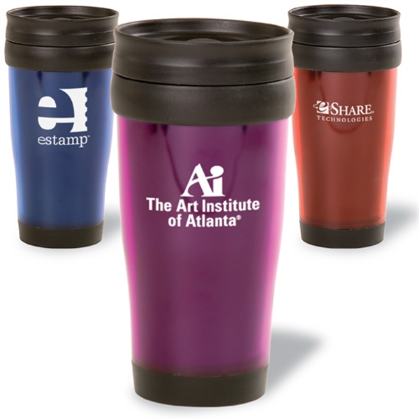 Translucent 16 Oz. Tumbler With Black Plastic Liner And Slide-lock Lid Photo