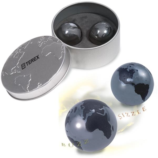 Sonic Rocks (r) - Magnetic Stress Rocks Feature A Global Map Etched On Them, Comes In Metal Case Photo