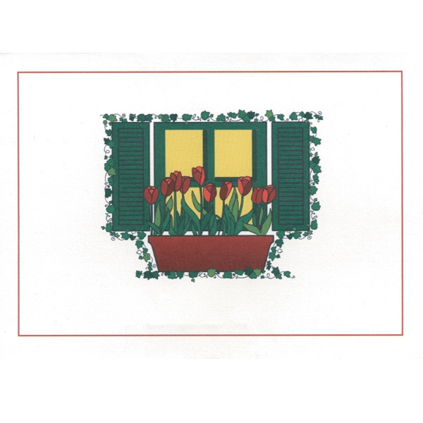 "Window With Flower Pot - Everyday Note Card With Sentiment Inside 3 1/2"" X 5"" Photo"