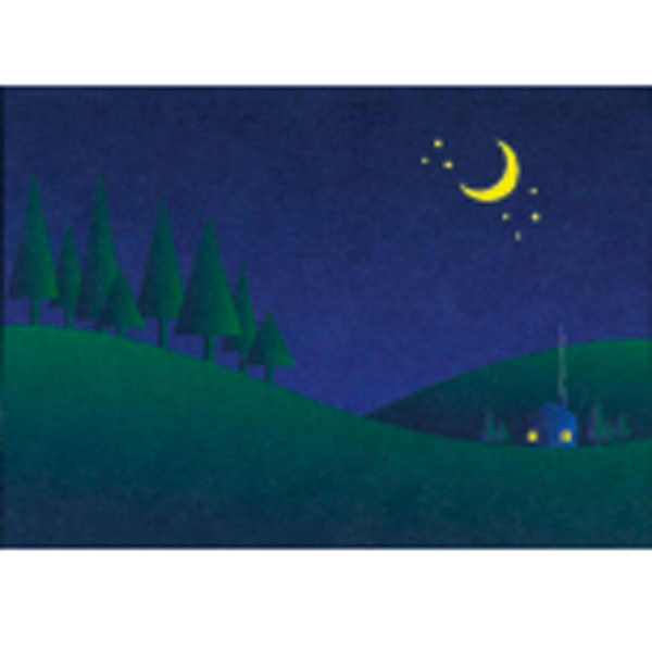 "Trees On A Hill At Night - Everyday Note Card With Sentiment Inside 3 1/2"" X 5"" Photo"