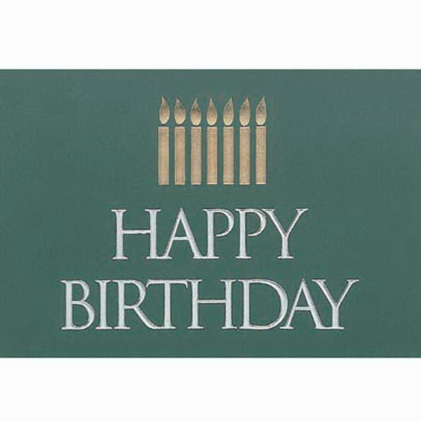 "Happy Birthday With Candles, Green Background - Everyday Birthday Note Card, 3 1/2"" X 5"" Photo"