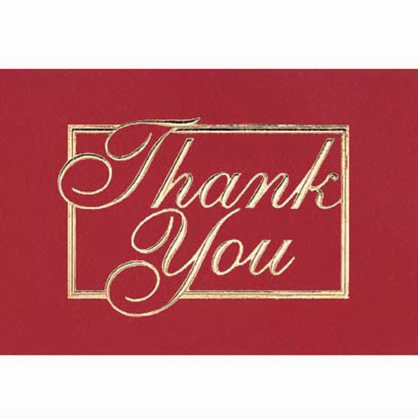 "Thank You In A Border With Red Background - Everyday Thank You Note Card, 3 1/2"" X 5"" Photo"