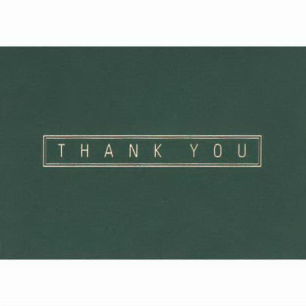 "Thank You In A Border With Green Background - Everyday Thank You Note Card, 3 1/2"" X 5"" Photo"