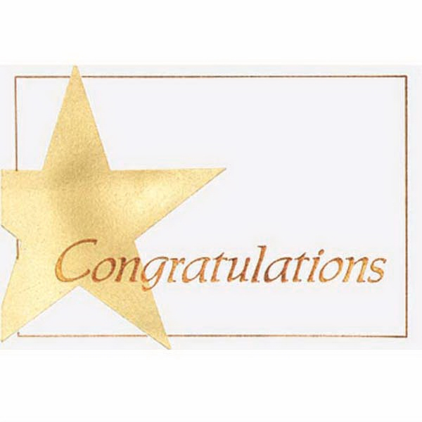 "Congratulations With Star To The Left - Everyday Note Card, 3 1/2"" X 5"" Photo"
