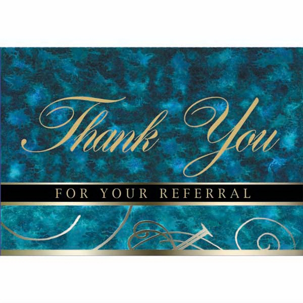 "For Your Referral - Blue And Green Colored Everyday Note Card With ""thank You"" Scripted In The Center Photo"
