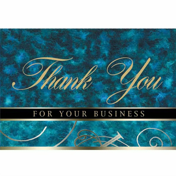 "For Your Business - Blue And Green Colored Everyday Note Card With ""thank You"" Scripted In The Center Photo"