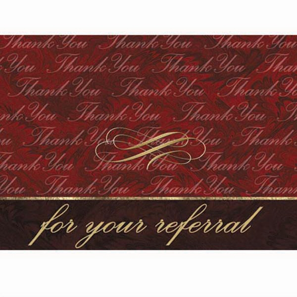 "For Your Referral - 3 1/2"" X 5"" Everyday Note Card With ""thank You"" Scripted On The Cover Photo"