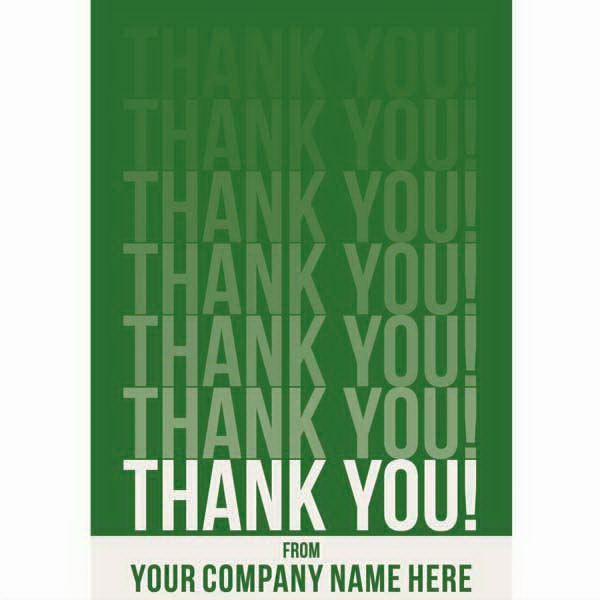 "Card With Your Company Name On Bottom Front - 3 1/2"" X 5"" Everyday ""thank You!"" Note Card Photo"