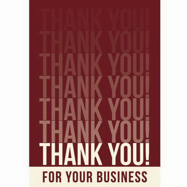 "Card With ""thank You For You Business - 3 1/2"" X 5"" Everyday ""thank You!"" Note Card Photo"