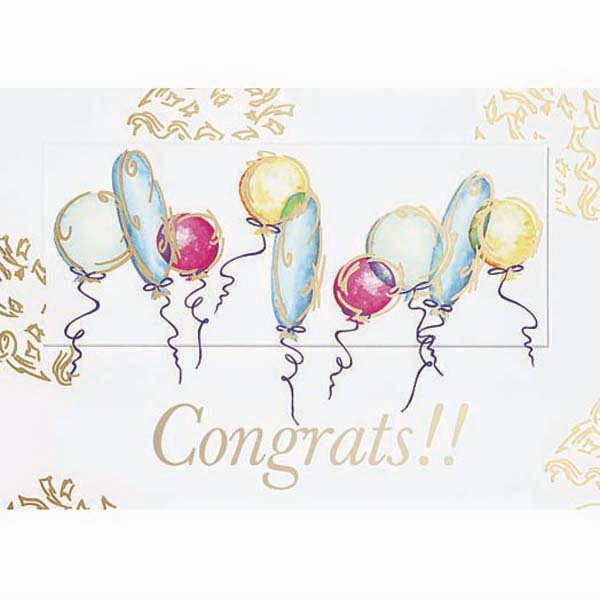 Congrats!! With Balloons - Everyday Greeting Card With Stock Sentiment Inside Photo