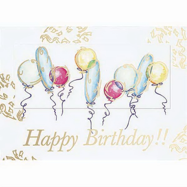 Happy Birthday!! With Balloons - Everyday Birthday Greeting Card With Stock Sentiment Inside Photo